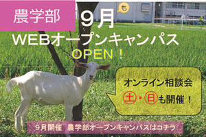 【ご案内】9月開催!農学部WEBオープンキャンパス