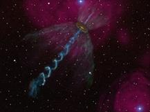 半田利弘教授らの研究グループが、できたての星が出す竜巻状のガス流を世界で初めて発見